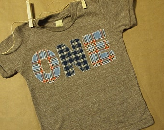 Blue Plaid and Checkered Birthday Tee Organic Shirt great first birthday second birthday
