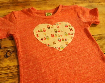 Heart Shirt perfect for Valentine's day or as a special gift Girls Heart Shirt Matroyshka Doll Print Russian Dolls