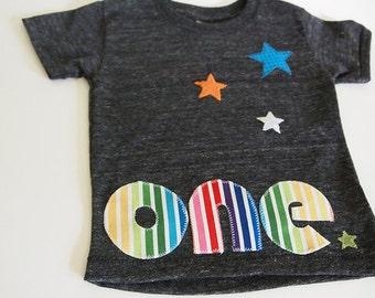 Rainbow Stripes and Stars Birthday Tee Organic Blend Colorful Birthday Shirt first birthday etc customize