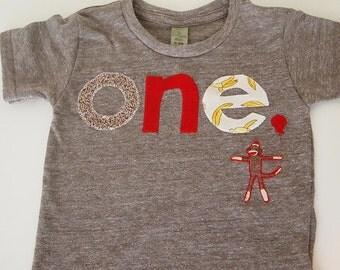 Sock Monkey Detail Birthday shirt Customize colors Boys Girls Organic Blend Birthday Tee first second etc birthda