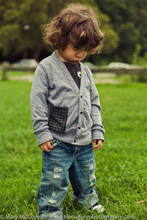 Boys Cardigan Sweater with Houndstooth Pocket Grey for toddlers