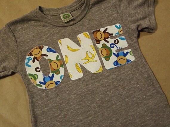 Monkey Birthday Shirt Organic Blend Monkey and Banana print Birthday Tee also available with pink monkey pattern