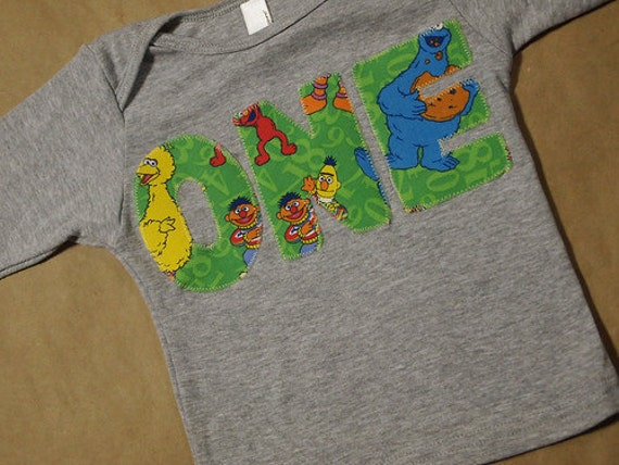 Sesame Street Birthday Shirt Elmo Cookie Monster Big Bird Long sleeve shirt ONLY AVAIL in size 12/18m long sleeve