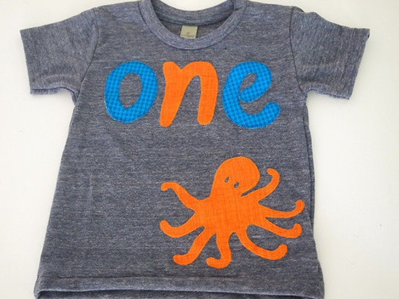 Octopus Shirt Birthday shirt Customize colors Boys Girls Organic Blend Birthday Tee first second Octopus birthday