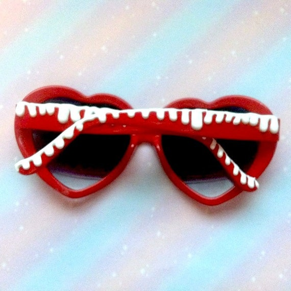 Cherry Red White Drizzle Lolita Heart Shaped Sunglasses