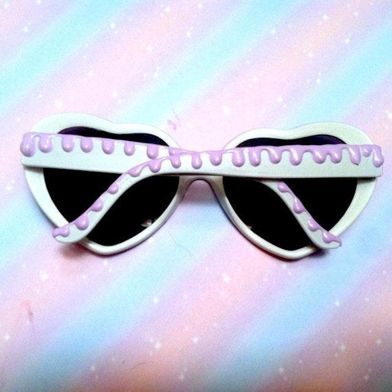 White Lilac Fudge Ice Cream Heart Shaped Sunglasses