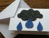 Rain Cloud and Rain Drops Felt Sewn Card