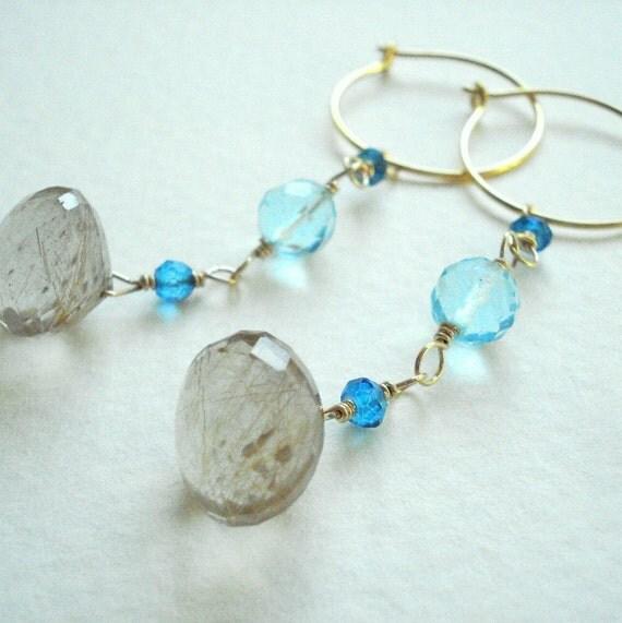 Sale - ISLAND GIRL - Golden Rutilated Quartz and Blue Topaz Hoop Earrings