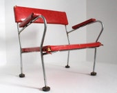 SALE Vintage child's booster seat, red and chrome, probably from a 1960s beauty or barber shop