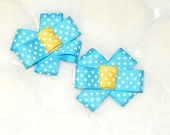 Blue Polka Dot Flowers By Tulipsea
