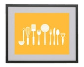 11x14 Kitchen Tools digital modern art print in mustard yellow with matte finish by Jayna Denbow