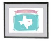 11 x 14 My Heart Belongs in Texas art print with FREE color customization