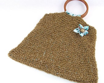 Brown Knitted Bag with Wooden round handles and fabric lined