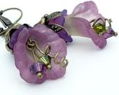 Antique bronze lucite flower earrings, green and purple earrings, flower jewelry