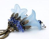 Light blue lucite flower earrings Blue flower jewelry Beaded jewelry