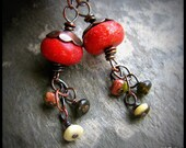 Apple Cider - Handcrafted Copper, Red Bamboo Coral, Unikite and BC Jade Gemstone Earrings