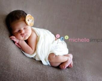 Newborn headband, Newborn photo prop, Newborn girl prop, Antique Brown Flower with Pearl Center Headband