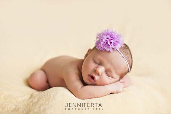 Newborn headband, Newborn photo prop, Baby headband, Chiffon Pom Flower Headband, Each - 11 Colors Choices