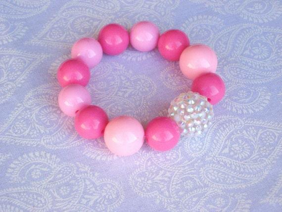 Bubble Gum Bling Bracelet - Light Pink, Dark Pink, BLING