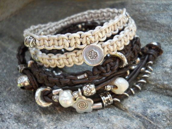 Pearl White Leather and Sterling Silver Double Wrap Bracelet