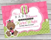 Baby Girl Shower Invitation Pink and Green White or Brown Skinned Baby Image Digital Files