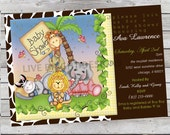 Wild Safari Nighty Night Baby Shower Invitation for Boy or Girl Digital File
