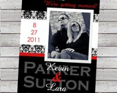 Modern Wedding Save the Date with Photo Damask Color Coordinated Digital File