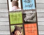 Hello World Modern Baby Announcement Boy or Girl 3 Photos Digital File