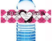 Water Bottle Labels Matching Fun Rock A Bye Baby Rock Star Mommy to Be Baby Shower Theme Digital File