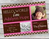 Mod Baby Girl Photo Announcement Pink and Brown Photo Digital File