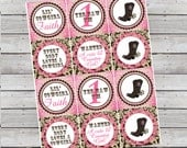 Matching Cowgirl Birthday Cupcake Toppers 1st Birthday or Any Age Pink and Brown Digital File