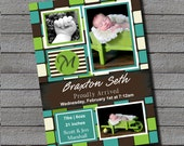 Braxton Birth Announcement Digital File or Add Prints Front & Back
