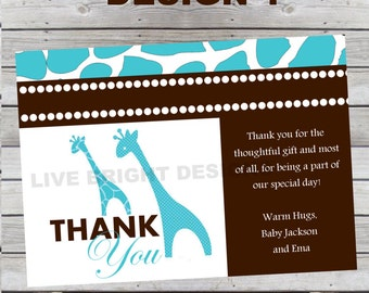 Matching Modern Wild Safari Thank You Card 4 Designs to Choose From Digital File