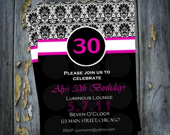 Modern 30th 40th 50th or Any Milestone Birthday Invitation Digital or Add Prints Front and Back