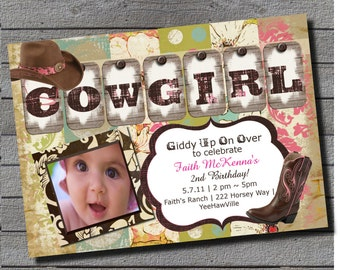 Boho Cowgirl Birthday Invitation 1st Birthday or Any Age Pink, Brown, Teal, Green Digital File or Add 5x7 Prints Front & Back