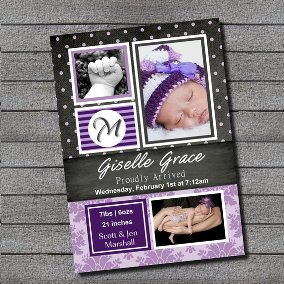 Baby Girl Birth Announcement 3 Photos Purple and Gray Digital File or add prints Front and Back