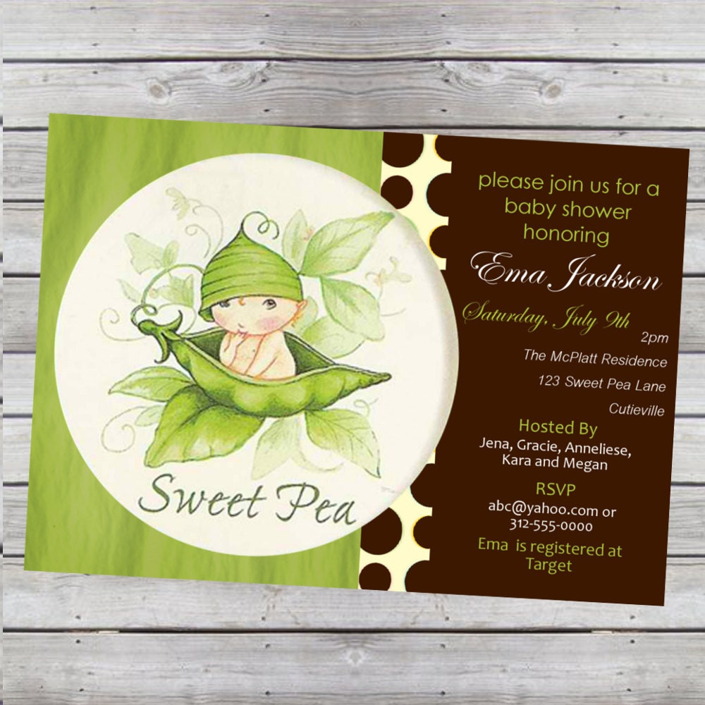 sweet pea baby shower invitation boy or girl by livebrightdesigns