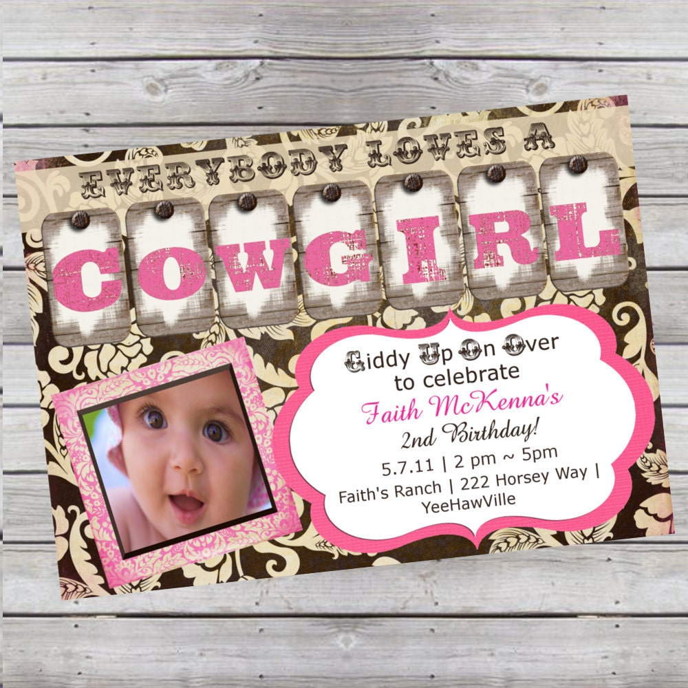 Cowgirl Birthday Invitation 1st Birthday or Any Age Pink and – Pink 1st Birthday Invitations