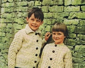 Classic Irish Aran Cardigan Knitting Pattern 1960s Children PDF (T163) Treasury Item