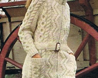 Long Slouchy Cardigan Knitting Pattern PDF Aran Jacket (T154)