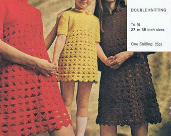 Girls Crochet Dress Pattern 1970s Mini Dress for Mother and Daughter PDF (T134)