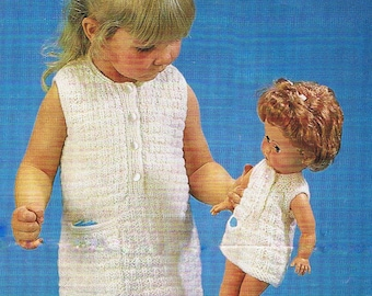 Matching Girls and Dolls Dress and Knickers Knitting Pattern PDF Vintage (T123)