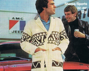Starsky and Hutch Cardigan Vintage Knitting Pattern PDF (T171) 1970s Classic