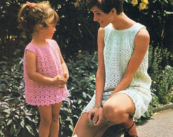 Mother and Daughter Girls Crochet Dress Pattern - in 8 sizes from child to adult (T178)