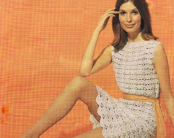 Crochet Dress Pattern PDF Vintage 1960s Dress (T187)