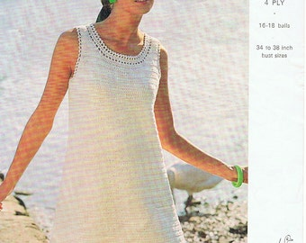 Classic Crochet Dress Pattern PDF Vintage 1960s Simple and Quick (T200)