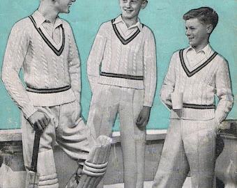 Knitting Patterns Cricket Jumper Free : KNITTING PATTERN FOR BOYS CRICKET VEST   KNITTING PATTERN