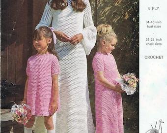 Wedding Dress Crochet Pattern and Bridesmaid Dress Crochet Pattern Vintage 1970s PDF (T224)
