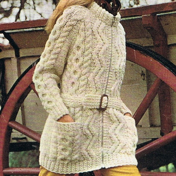 Long Slouchy Cardigan Knitting Pattern PDF Aran Jacket T154