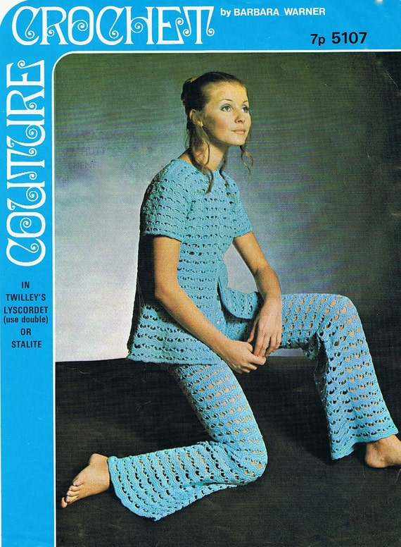 Groovy Trousers 1970s Crochet Pants and Tunic Pattern PDF (T142) Vintage